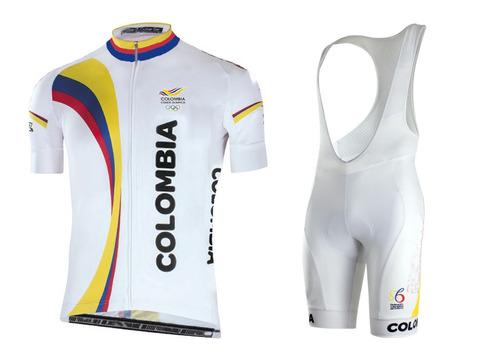 uniforme ciclismo colombia olimpicos 100% lycra - blanco
