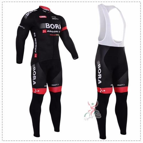 uniforme ciclismo largo 100% licra bora negro