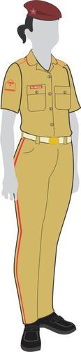 uniforme colégio militar: camisa cáqui manga curta feminina