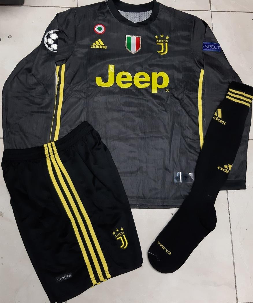 1a846506a7b5b Uniforme Completo De Juventus En Manga Larga En Color Negro ...