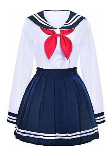 uniforme de colegiala japonesa marinero falda plisada azul m