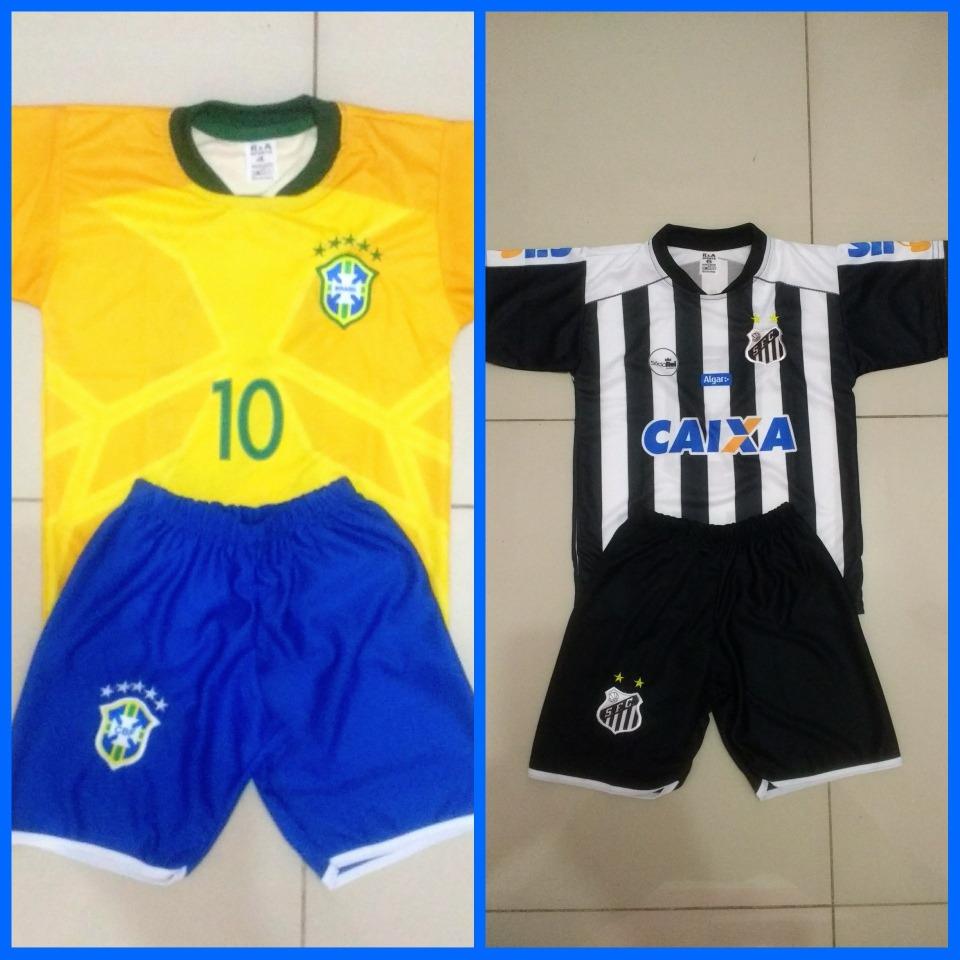 fb49cc30900bf Uniforme Do Santos + Brasil Infantil + Brinde 1 Meião - R  55
