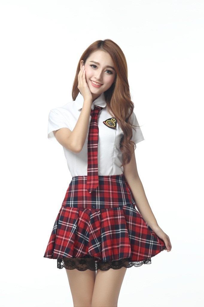 Uniforme Escolar Japons Saia Xadrez Cosplay M Pronta -9527
