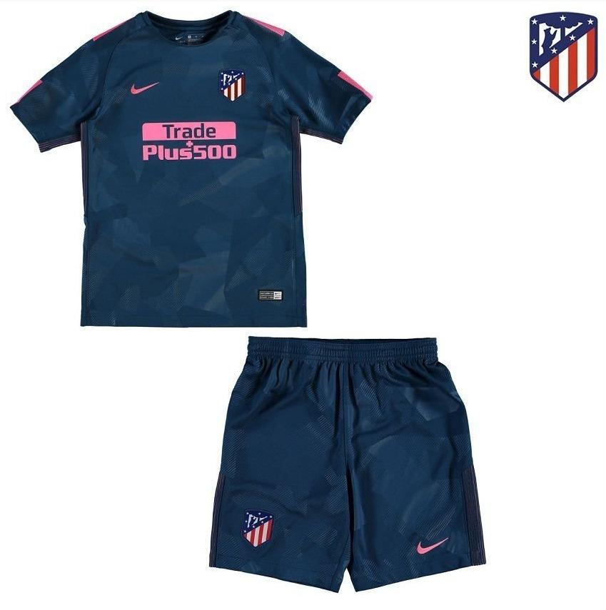 uniforme infantil atlético de madrid oficial camisa e shorts. Carregando  zoom. e0b69598a16d0