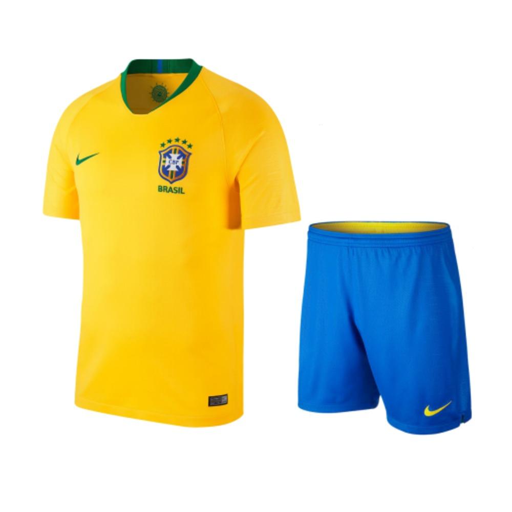 890ef26b2d4d3 Uniforme Infantil Brasil I Home Copa 2018 - R  179