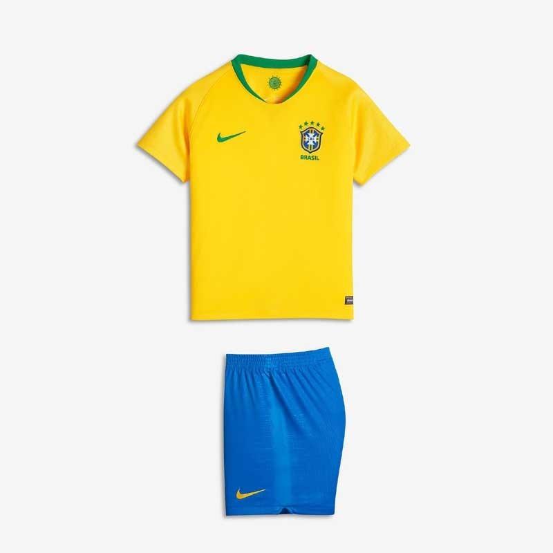 Uniforme Infantil Camisa Amarelo Shorts Seleção Brasil 2018 - R  149 ... e9fb1142bf557