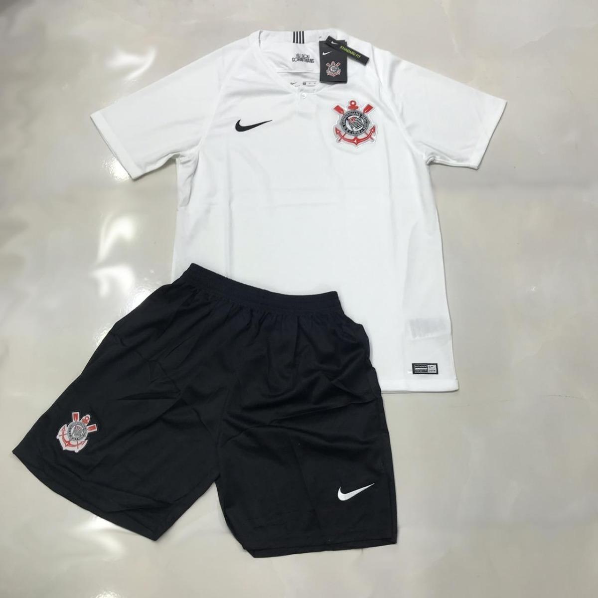 ed4d2a865bd81 Uniforme Infantil Camisa E Shorts Futebol Corinthians 2018 - R  149 ...