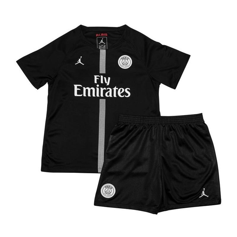 Uniforme Infantil Camisa E Shorts Futebol Paris Jordan 2018 - R  147 ... 14758379e65a8