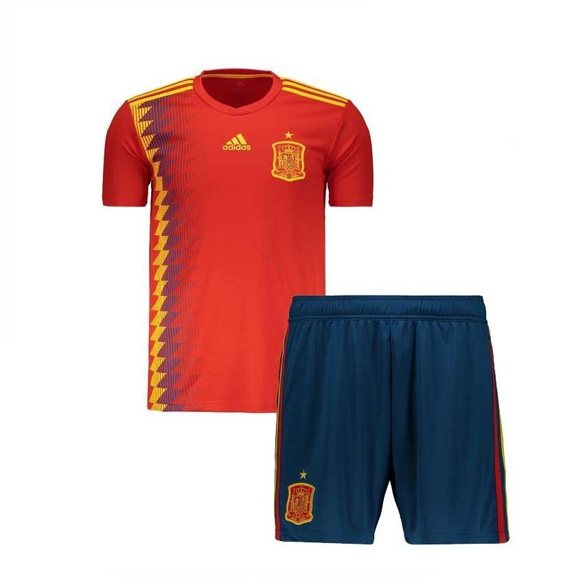 Uniforme Infantil Camisa E Shorts Seleção Da Espanha 2018 - R  178 ... 095e328ac1e32