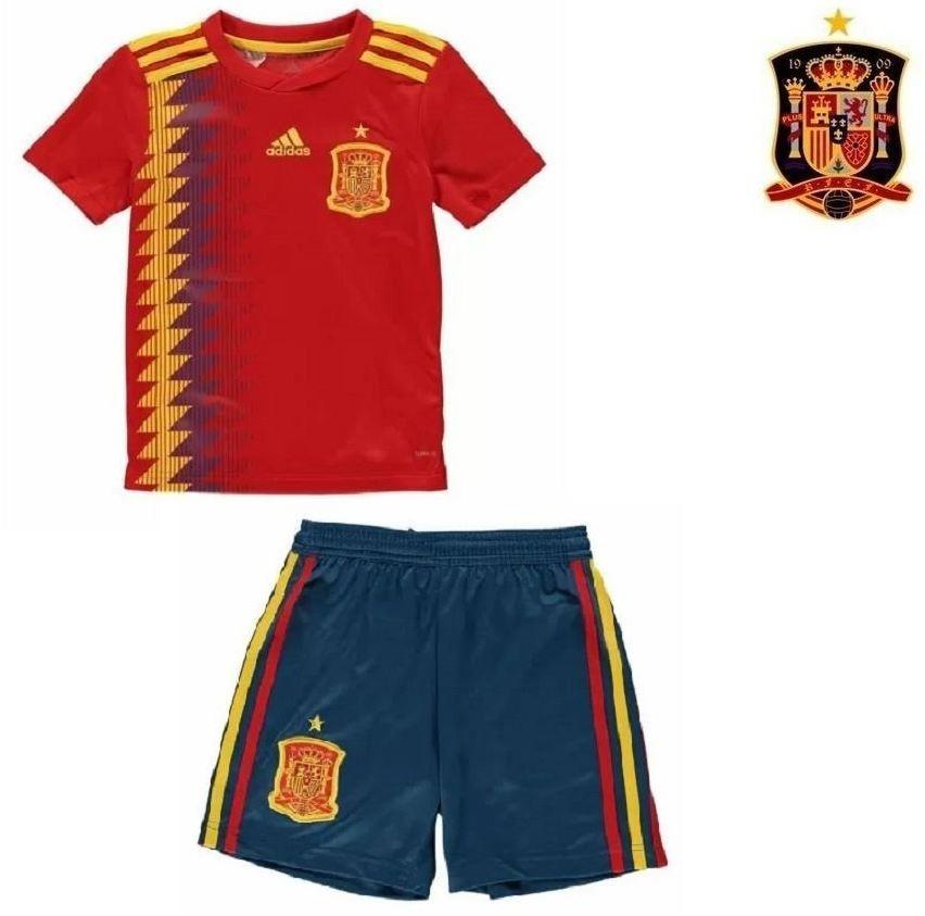 uniforme infantil camisa e shorts seleção espanha copa 2018. Carregando  zoom. 58a342a5d3424