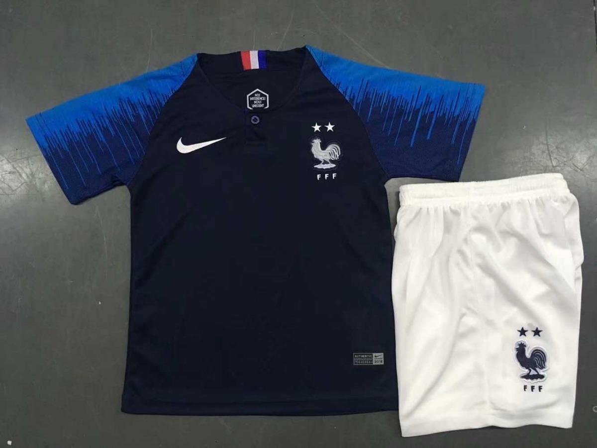 uniforme infantil camisa e shorts seleção frança home 2018. Carregando zoom. 4ecba37e7bb7c