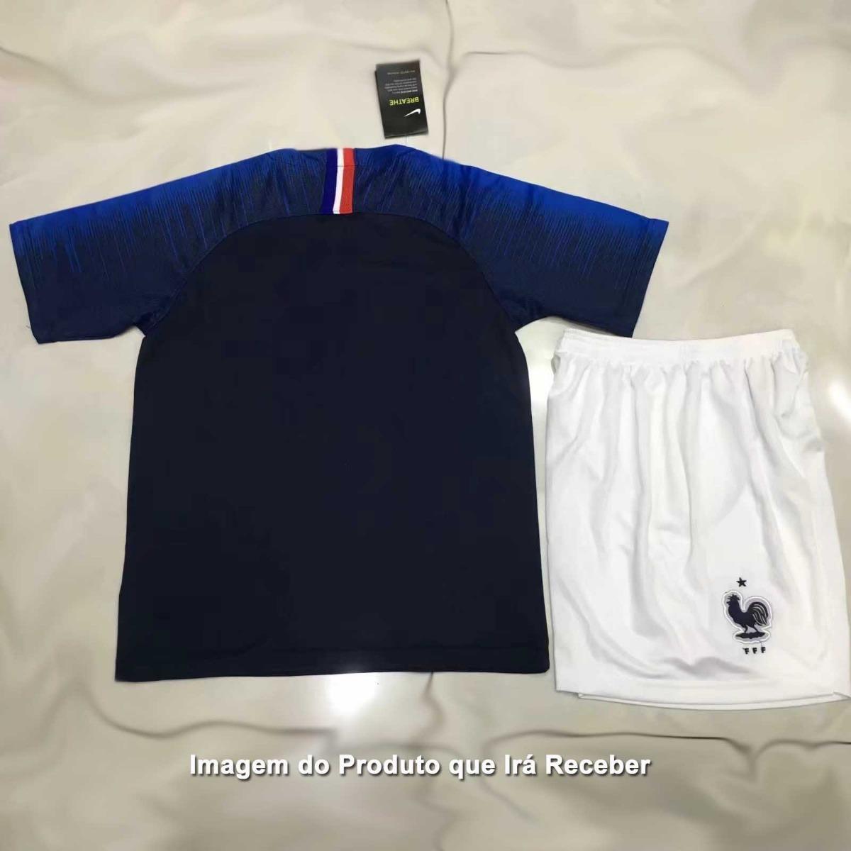 Uniforme Infantil Camisa E Shorts Seleção França Home 2018 - R  154 ... 0a0f2159dfcf6