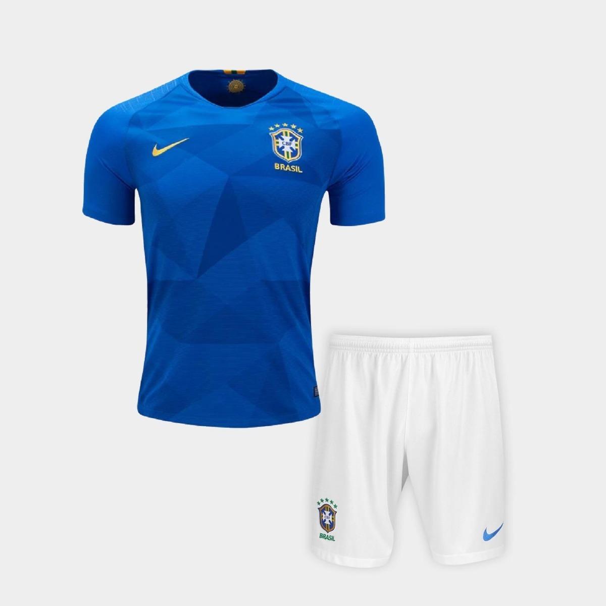 Uniforme Infantil Camisa Shorts Neymar Seleção Brasil 2018 - R  139 ... 6eae2f7a44aab