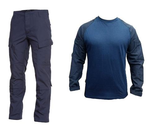 uniforme tactico azul combat shirt y pantalon rip stop