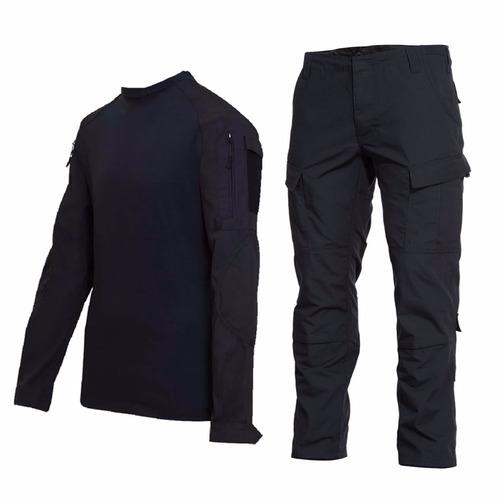 uniforme tactico negro combat shirt y pantalon rip stop