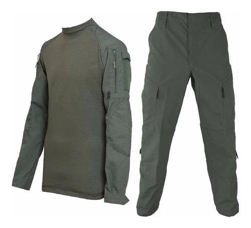 uniforme tactico verde combat shirt y pantalon rip stop
