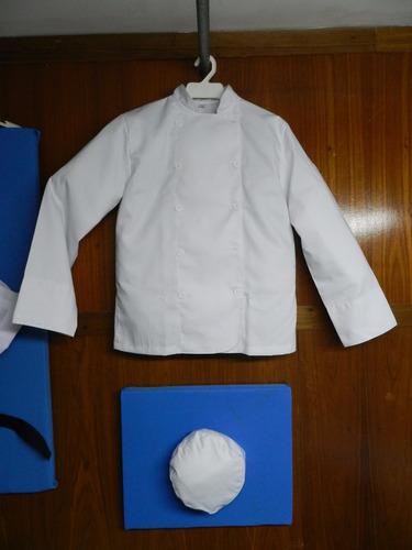 uniformes de cocina, chaqueta de chef, pantalon, gorros, etc