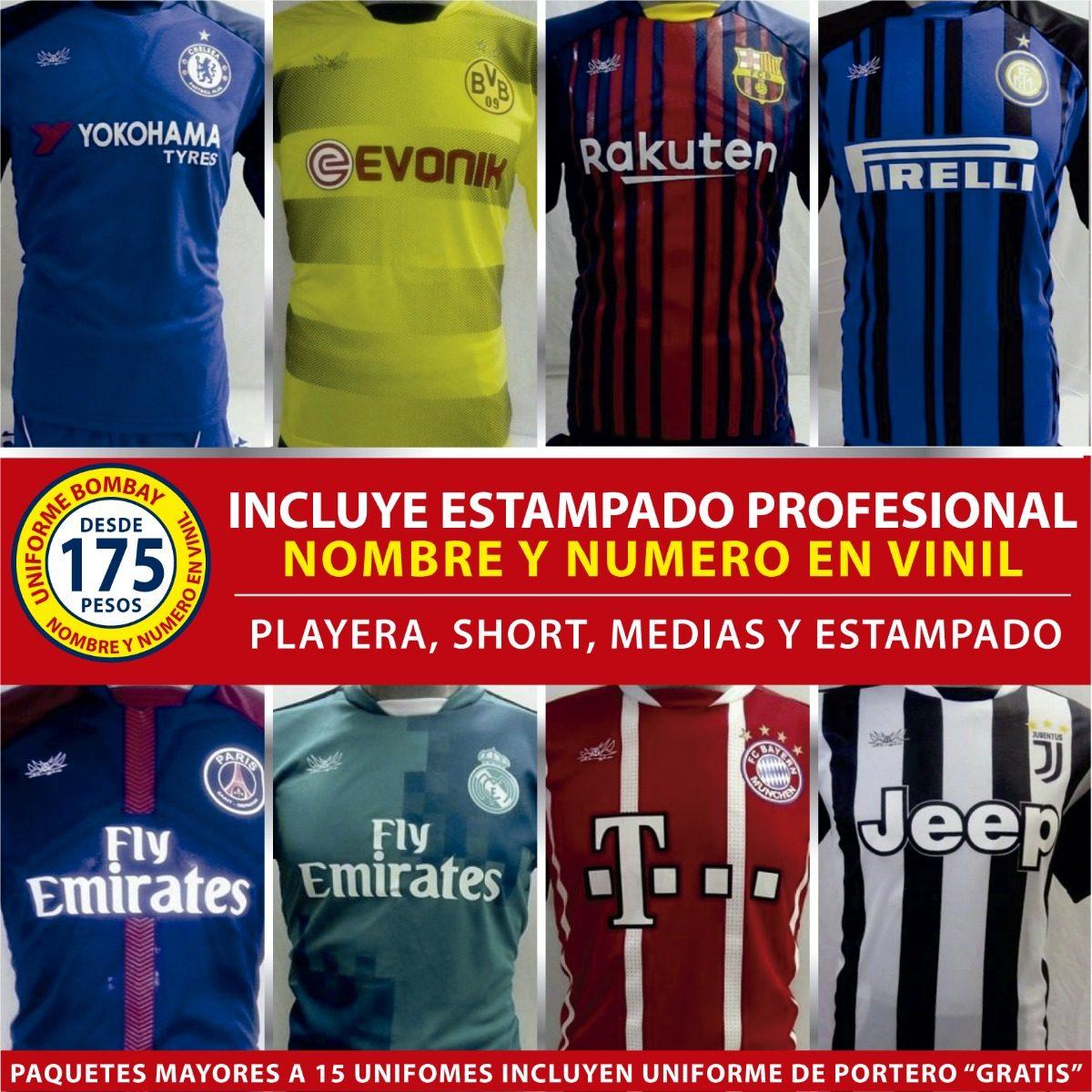 f982114265316 Uniformes Fútbol C  Nombre Y Número En Vinil - Minimo 10 Pza ...
