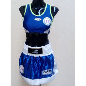 b2282bc8094e8 Uniforme Box Fire Sports Azul Femenil Entrenamiento Mediana