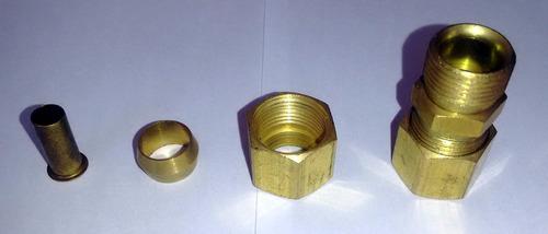 união latão emenda tubo cobre tecalon ar comprimido 10 mm