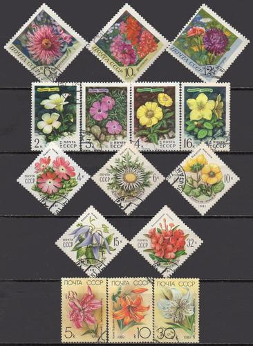 união soviética - flores - acumulação com 15 selos q1