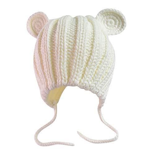 Unisex Baby Cute Cat Ear Cap Vinjeely Solid Color Knit Winter Warm Ear Guard Hat Headwear 0-3T