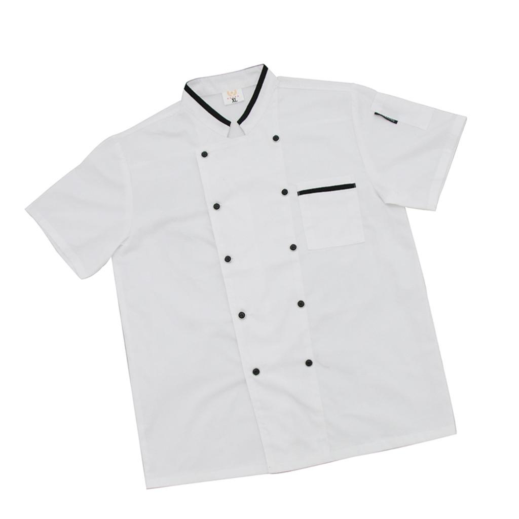 Manga Cater Chaqueta Chef Unisex Cocinero Corta Ropa Cocina 4q05Xz5W