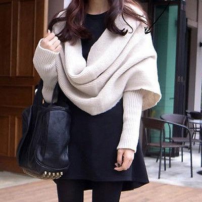 unisex de estilo coreano de punto bufanda chal... (black)