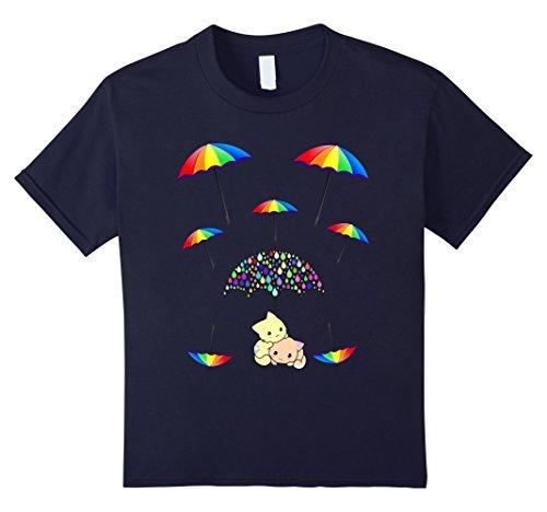 unisex-niño paraguas protección 2 gatitos camiseta 8 marina