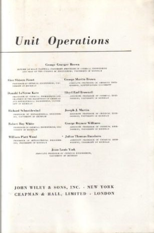 unit operations / george granger brown