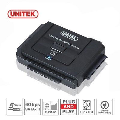 unitek usb 3,0 a 2,5  3,5  5,25  sata ide disco duro adaptad