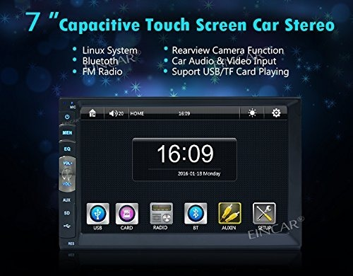 """Camera 2DIN Car Stereo Radio MP5 MP3 Player 7/"""" Touch Screen HD BT USB TF"""