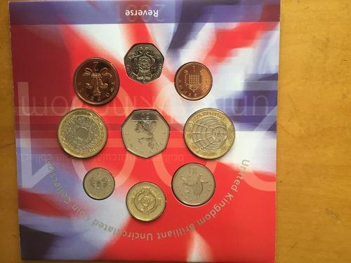 unk-s38 set 9 monedas gran bretaña 2001 unc-bu ayff
