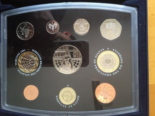 unk-s40 set 10 monedas gran bretaña 2001 proof ayff