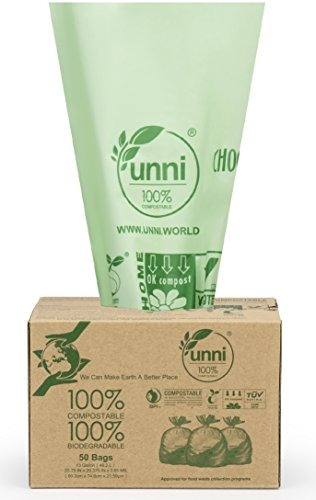 unni astm6400 certificado 100% bolsas compostables 13 galone