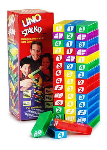 uno stacko juego mesa familiar jenga torre bloques mattel