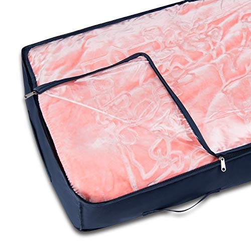 Storage & Organization UNQJRY Underbed Storage Bag for Blanket Comforter Quilt Sheet Sweater Pillow Shoe Clothes 600D Thick Oxford Reuseable Foldable ...