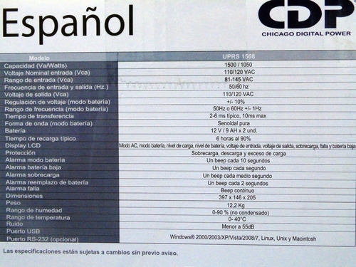 ups 1500 va 1050 w onda senoidal pura cdp nuevo uprs1508
