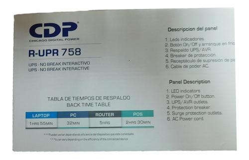 ups 750 va 375 w cdp 8 tomas 4 ups y 4 avr r-upr 758 nuevo