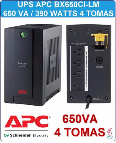ups apc back-ups 650va bx650ci-lm 4 tomas 390 watts backups