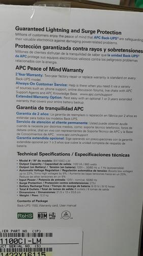 ups apc regulador backups 6 tomas 1100va