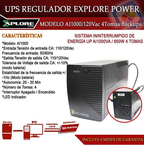 ups con regulador 1000va / 4 tomas / explore network ai1000