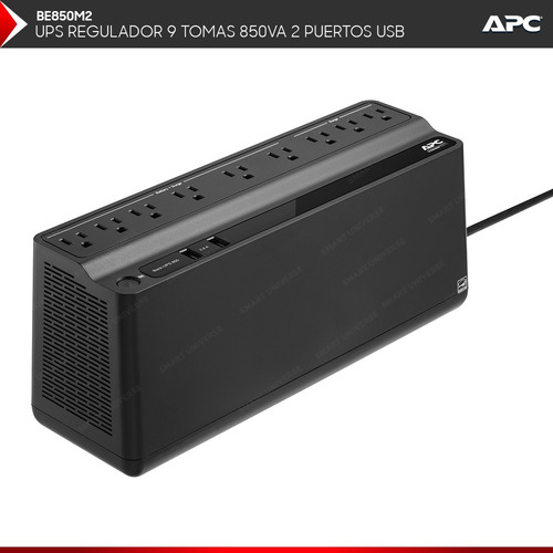 ups con regulador apc 9 tomas 850va 2 usb para pc tv gamer
