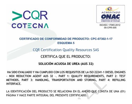 urea automotriz por litro a domicilio, certificado onac, cqr