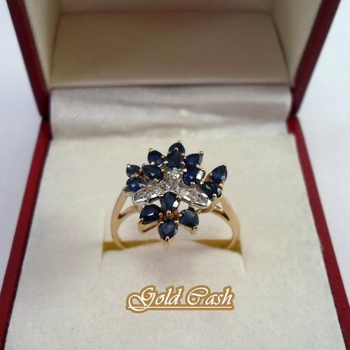 urgente anillo de oro 18k con zafiros y brillantes