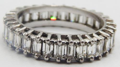 urgente anillo sinfin de diamantes en oro blanco 3.10kilates