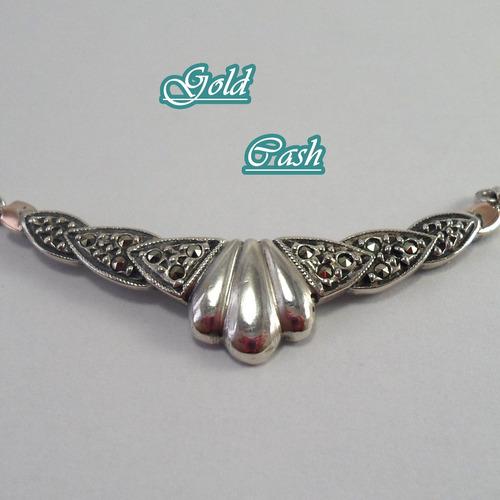 urgente gargantilla de plata con marquesitas