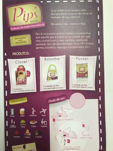 urinol descartável pips original em papel cartão com lenço