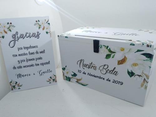 urna buzón boda casamiento cartel y candado alcancia grande