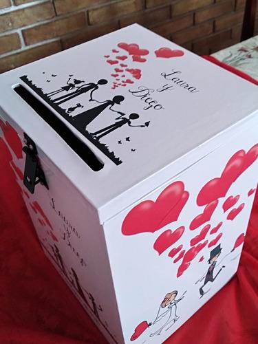 urna buzon sobres para regalo modelo bodas candado y cartel